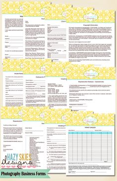 Photography Contract Forms $40.00