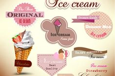 Free download Delicious ice cream labels vector . Free vector includes Vector material, cold drinks, ice cream, custard, labels, dessert, desserts, classic. Category: Vector concept