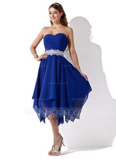 A-Line/Princess Sweetheart Asymmetrical Chiffon Lace Homecoming Dress With Ruffle Beading (022010996) - JJsHouse