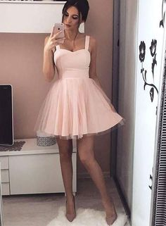 Simple pink Homecoming Dress,A line Homecoming Dress,sweetheart neck Homecoming Dress,short prom dress, homecoming dresses
