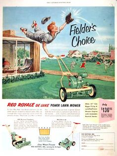1953 REO Royale Lawn Mower Classic Vintage Print Ad