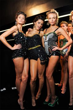 BIANCA BALTI, ISABELI FONTANA AND NATASHA POLY BACKSTAGE AT DOLCE & GABBANA FASHION SHOW