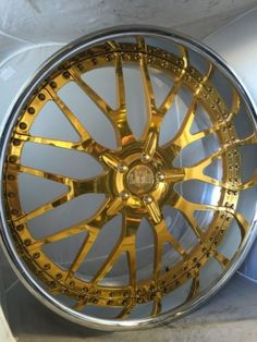 "Front - 22"" x 9"" Rear - 22"" x 10.5 Drilled for a 5x120 Bolt Pattern Translucent GOLD CENTER with Chrome OR Polished Lip Lip Sizes Available from 2""-6"" Inches ! Assembly Bolts Available in Multiple Col"