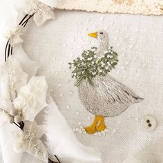 A Christmas Goose, from the utterly gorgeous design by Penny Started at the workshop at… Baby Embroidery, Hardanger Embroidery, Hand Embroidery Stitches, Christmas Embroidery, Modern Embroidery, Embroidery Hoop Art, Hand Embroidery Designs, Embroidery Techniques, Cross Stitch Embroidery