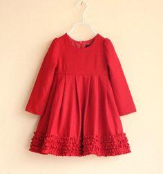 Fashion Girls Birthday Red woolen dress female child kid's one-piece christmas dresses Free shipping