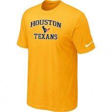 Cheap Men Houston Texans Heart And Soul Short Sleeved Yellow T-Shirt Sale_Houston Texans T-Shirts