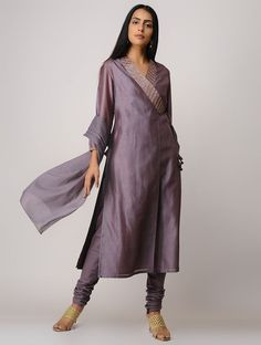 Best 12 Mauve Block-printed Zari Emroidered Chanderi Angrakha Kurta with Slip (Set of Salwar Designs, Kurta Designs Women, Kurti Designs Party Wear, Blouse Designs, Indian Dresses, Indian Outfits, Indian Clothes, Modest Dresses, Pretty Dresses