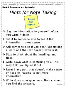 basic note taking form for beginning note taking from textbooks ...