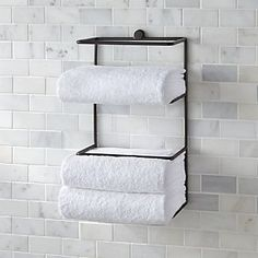 Keep your bathroom crisp and clean with chic bathroom storage like hampers, baskets and linen towers for clothing, towels and bath accessories. Towel Storage, Bath Storage, Small Bathroom Storage, Towel Racks, Bathroom Organization, Towel Holder, Rustic Bathrooms, Chic Bathrooms, Shelf Brackets Modern