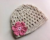 Baby Girl Hat, Crochet Baby Hat, Baby Hat, Baby Girl Beanie, Newborn Photo Prop, Ivory, Pink, Flower