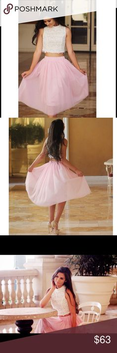 """Pink Tulle Midi Skirt Baby Pink Tulle Midi Skirt as seen on me in the pics above! Still in perfect condition. No stains. No tears. No marks. My waist is 24/25 """" the waist band stretches so easy to get on and off. Size is S! Skirts Midi"""