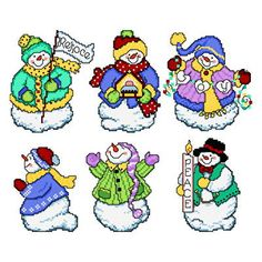 Joyous Snowmen - Snowmen cross stitch pattern designed by Ursula Michael. Category: Snow.