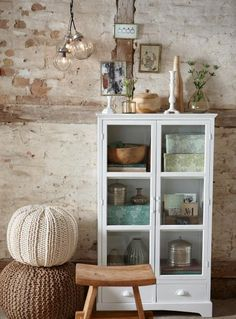 Glass cabinet knitted stools and wooden stool Innovation Living, Storage Cabinets, White Cabinets, House Doctor, Modern Interior Design, Home Accents, My Dream Home, Home And Living, Interior Inspiration