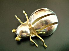 Sterling Silver Bug Brooch Pin Insect Brass by RenaissanceFair