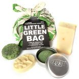 Little Green Bag: You may have noticed we love making things into solid form, from shampoos to massage oils, scrubs and more. We do it so that we can remove all preservatives and packaging with the result being fresh, handmade and totally naked products with beautiful ingredients. We've brought together four of our brightest solid inventions to keep you clean from head to toe, including Squeaky Green shampoo bar, Sexy Peel soap, Each Peach massage bar and our solid Sugar Scrub.