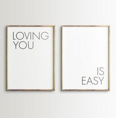 Loving You Is Easy Printable Wall Art - Set of 2 Prints - Large Black and White Typography Printable Quotes, Printable Designs, Printable Wall Art, Printables, Nursery Wall Art, Nursery Decor, Wall Decor, Bedroom Decor, Bedroom Prints