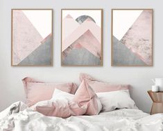 Trending Now Art, Trending now prints, Set of 3 Prints, Mountain Print Set, Grey and Pink, Blush Pink, Scandinavian Prints, Downloads  A stunning on trend set of 3 Scandi Mountains in tones of blush pink and Grey.  THESE ARE INSTANT DOWNLOADS – Your files