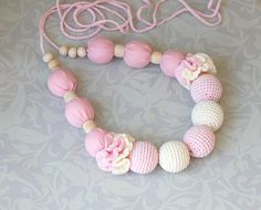 NEW! Crochet Fabric Nursing necklace Baby Pink Cream Breastfeeding necklace - Teething necklace -Made to Order on Etsy, $31.98 CAD