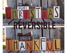 Fall autumn thanksgiving Christmas winter reversible seasonal decor wood block…