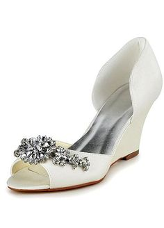 10486816d44  58.99  Chic Satin Upper Peep Toe Wedge Heel Bridal Shoes With Rhinestones
