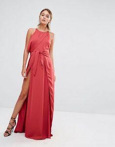 Stylestalker Tie Front Maxi Dress with Thigh Split