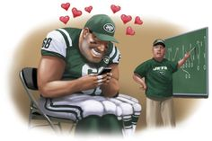 """Do you want to date a #NFL player? Download Tinder and """"swipe right for NFL love at first sight"""" #WSJ reports why New York #Jets players are looking for love on Tinder #girlslovethegame"""