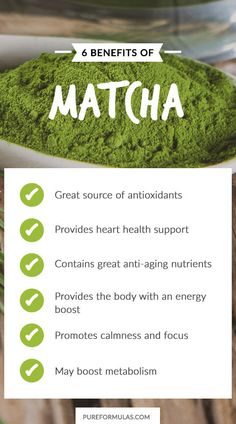 "6 Health Benefits of Matcha. Matcha means ""powdered tea"" and it actually may be confused at times with green tea because it comes from the same herb."