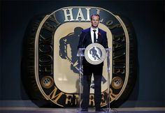 Nicklas Lidstrom makes his Hockey Hall of Fame induction speech on November Hockey Hall Of Fame, Red Wings Hockey, Nhl Players, Legends, November, Game, Sports, November Born, Hs Sports