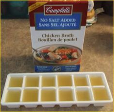 Good idea for when you don't need the entire container of stock-freeze the rest!