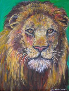 Lion Stare Art 14x11 Impressionist Wildlife by TowheeHillStudio, $313.00