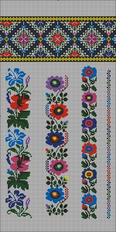 This Pin was discovered by Мни Hungarian Embroidery, Folk Embroidery, Embroidery Patterns Free, Beaded Embroidery, Cross Stitch Embroidery, Embroidery Designs, Cross Stitch Rose, Cross Stitch Borders, Cross Stitch Flowers