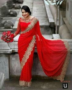 Ideas For Indian Bridal Poses Red Saree Blouse Patterns, Saree Blouse Designs, Lace Saree, Red Saree, Bollywood Saree, Indian Bridal Wear, Bridal Poses, Work Sarees, How To Pose