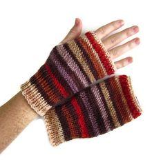 Knitted Fingerless Mittens Women Teen Gloves Texting Mitts Striped | EweniqueEssentials - Accessories on ArtFire