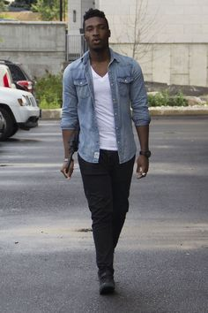 Super simple. Denim button-down with fitted white tee.