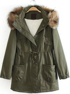 Army Green Detachable Fur Trimmed Hood Lined Parka US$56.72