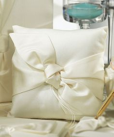 Tie the Knot Collection Wedding Ring Pillow (ivory or white)!