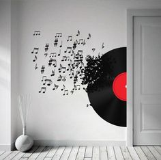 Vinyl Record Blowing Music Notes Decal for wall - Sticker   wallartdecals - Furnishings on ArtFire