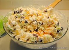 Fluffy Mac and Fruit Salad at Miz Helen's Country Cottage Canned Pineapple, Easy Salads, Holiday Tables, Tasty Dishes, Fruit Salad, Food Print, Salad Recipes, Potato Salad, Mac