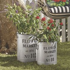 Idea for pot makeover. Flat Metal finish with lettering like this