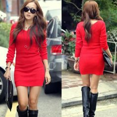 Red Double V Neck Womens Hip Wrapped Womens Sweater Knitwear Mini Dress Stretch | eBay