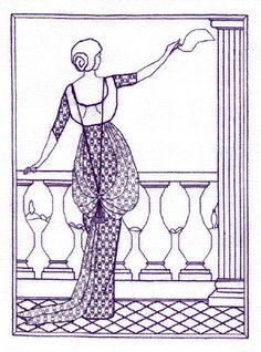 An elegant Art Deco lady on a balcony waving her handkerchief. blackwork kit $27