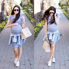Casual and cute pregnancy style.