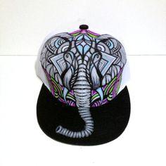 Rocked this hat yesterday! LOVE.  elephant design custom snapback by MANIKcustomdesigns on Etsy, $50.00