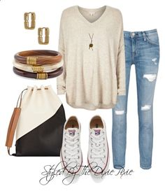 Polyvore featuring polyvore, fashion, style, River Island, Current/Elliott, Converse, Marni, Chicos, Diane Von Furstenberg and clothing. Fashion for women over 40. Style. Summer. Summer jeans outfits. Summer sweater.