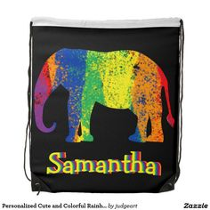 Personalized Cute and Colorful Rainbow Elephant Drawstring Bag.