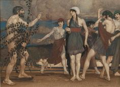 The arrival of the shipwrecked Odysseus, meeting with Nausicaa, daughter of King Alcinous, and her servants (1914),  Russell Flint