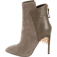 Sergio Rossi Suede Pointed-Toe Ankle Boots ($325) ❤ liked on Polyvore featuring shoes, boots, ankle booties, grey, suede booties, short boots, gray booties, grey suede boots and gray suede booties