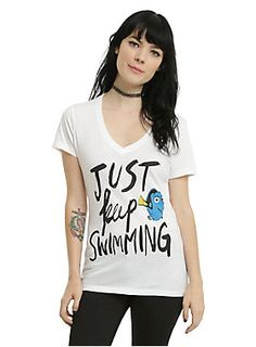 <p>When life gets you down, do you wanna know what you've gotta do? Just keep swimming! When you need a little motivation, just wear this tee from Disney's Finding Dory featuring her wise words.</p>  <ul> <li>100% cotton</li> <li>Wash cold; dry low</li> <li>Imported</li> <li>Listed in junior sizes</li> </ul>