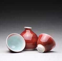 porcelain sake set bottle with cups for sake by rmoralespottery