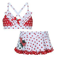 Disney Store Minnie Mouse Red and White « Clothing Impulse Minnie Mouse Swimsuit, Mickey Mouse, Polka Dot Two Piece, High Neck Bikini Set, Cool Kids Clothes, Disney Outfits, Disney Clothes, Disney Merchandise, Bikini Girls